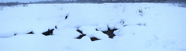 For example in Pikku Nuoluanjärvi wetland of LIFE+ Return of Rural Wetlands in Liminka in Northern Finlandthe the snow cover is about 50 cm in the beginning of February. Photo Juha Siekkinen 30.1.2015.