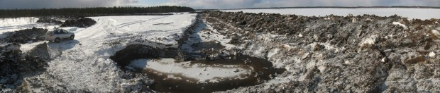 Vanhanmaja wetland Finland, construction of embankments, photo Juha Siekkinen 21.3.2013