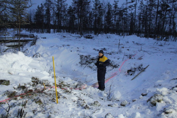 Aapajärvi wetland restoration, constructing of the sheet pile weir with stoplogs1, photo Juha Siekkinen 26.2.2015