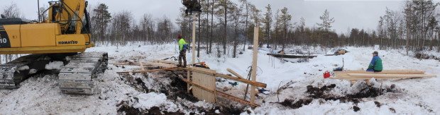 Aapajärvi wetland restoration, constructing of the sheet pile weir with stoplogs2, photo Juha Siekkinen 26.2.2015