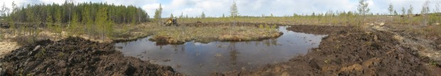 Lammenneva wetland creation, open water area created in the ground by digging, photo Juha Siekkinen 7.5.2014