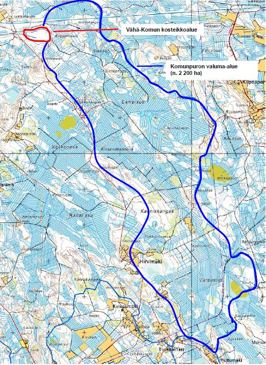 The demarcation of the drainage basin: Juha Siekkinen. Base Map © National Land Survey of Finland, permit no. 326/MML/11